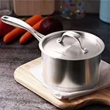 HOMICHEF Matte Polished NICKEL FREE Stainless Steel 1.75 QT(Quart) Sauce Pan/Sauce Pot with Lid - Cookware Pots And Pans S...