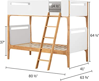 """South Shore , Pure White and Exotic Light Wood Bebble Twin Modern Bunk Beds (39"""")"""