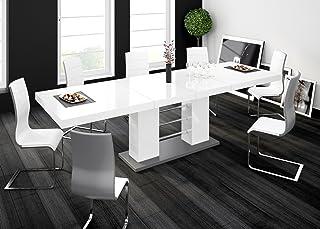 Furniture24 Linosa Table de salle à manger design extensible 2 en 3 niveaux 160 cm/210 cm/260 cm Gris / blanc brillant