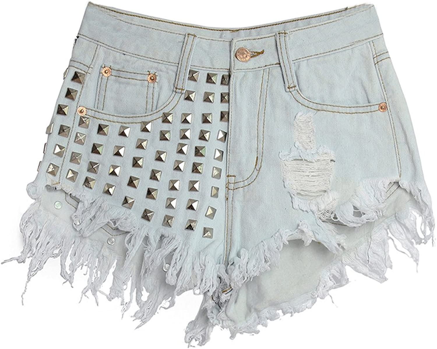 BADI NA Women's Fashion Destroyed Hole Rivets Tassel Skinny Denim Shorts