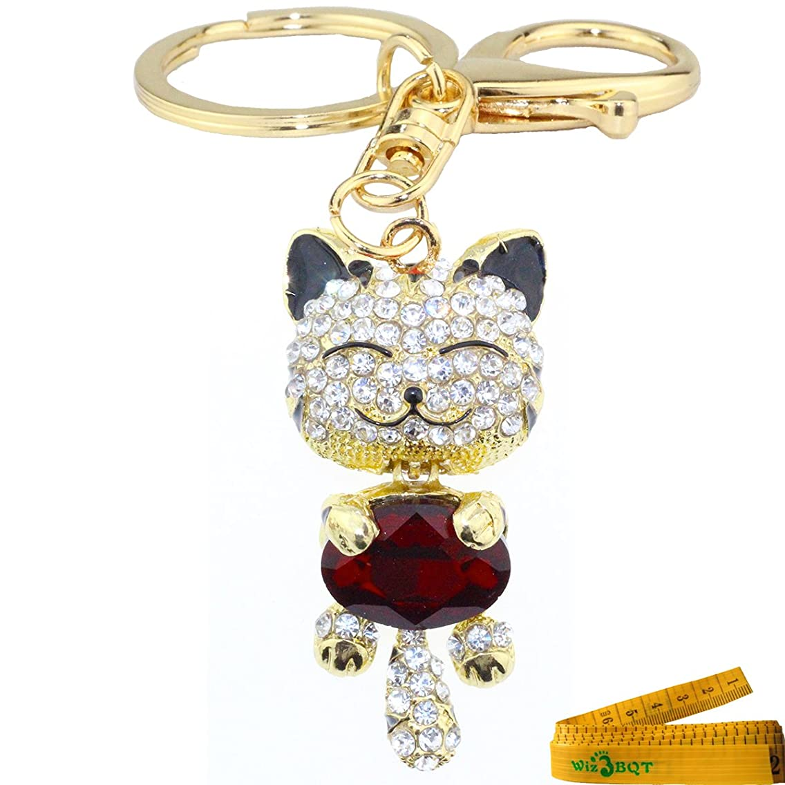 Cute Kitten Cat Charming Bling Bling Crystals Rhinestone Metal Keychain Key Ring Handbag Cell phone Purse Hanging Charm Pendent Decor Gift (Burgundy)