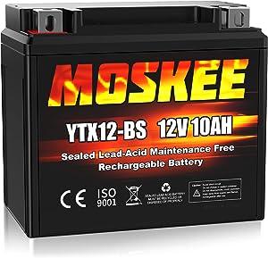 Moskee YTX12-BS Motorcycle Battery High Performance - Maintenance Free - Sealed AGM 12V 10Ah ATV Battery For Honda Yamaha Suzuki Kawasaki