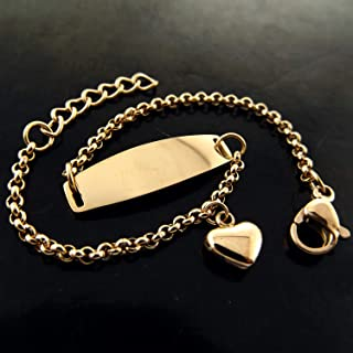 ID BRACELET BANGLE 18 K ROSE G/F GOLD CHILDREN KIDS BABY HEART CHARM DESIGN