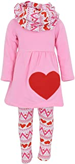 Unique Baby Girls 3 Piece Matching Valentine's Day Heart Print Legging Set