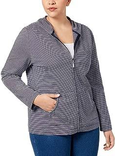 Plus Size Striped Knit Hooded Jacket