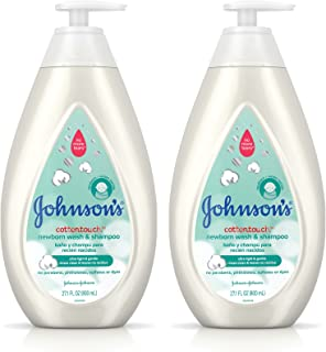 Johnson's CottonTouch Newborn Baby Wash & Shampoo, Made with Real Cotton, Twin Pack, 2X 27.1 fl. oz