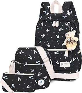 WSLCN Canvas Backpacks Set Girls School Bags Zipped Daypack Travel Satchel Shoulder Messenger Bag Kids Shoulder Bag Rucksa...
