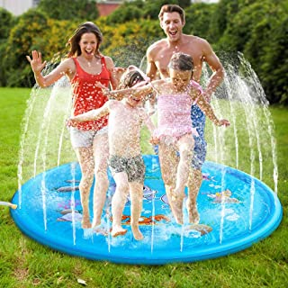 "Syolee Splash Pad 68"" Sprinkler Play Mat Inflatable Water Toys Outdoor Swimming Pool Toys for Babies & Toddlers, Multicolor"