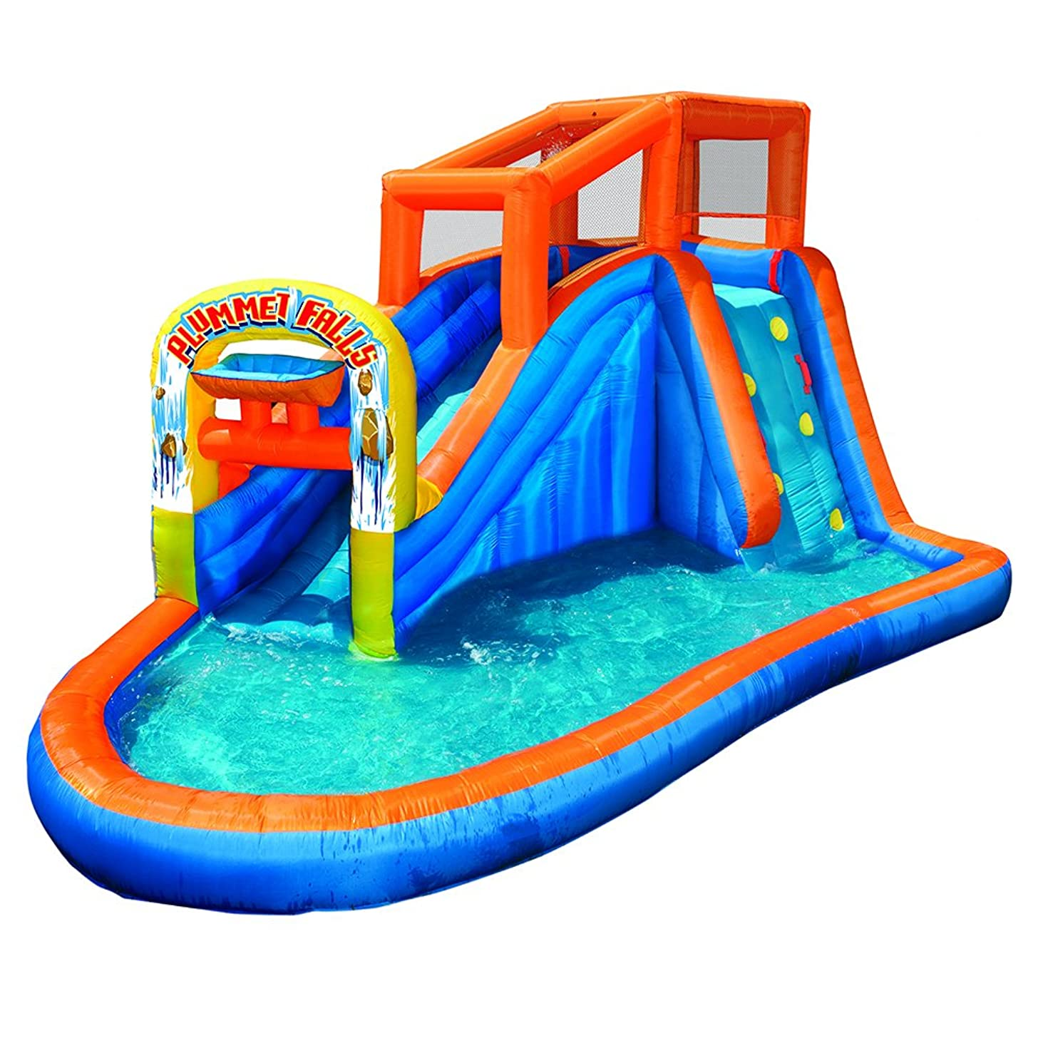 BANZAI 35543 Plummet Falls Adventure Slide Inflatable Water Park, Multicolor
