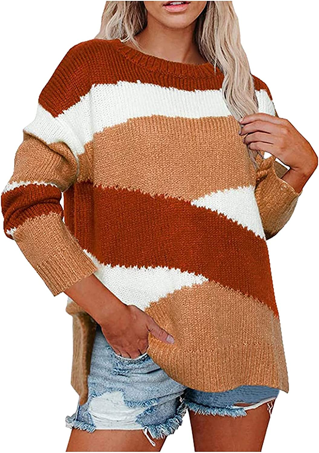 Women's Long Sleeve Crew Neck Striped Color Block Casual Loose Knitted Pullover Sweater Tops Slounchy Coat Outwear Jumper Top