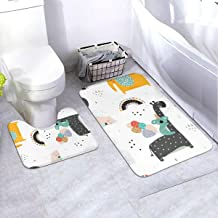 Bath Rug Set 2 Piece BathroomChildish with Party Animals Mat Sets Non Slip Microfiber Bath Shower Mat U-Shaped Toilet Rug ...
