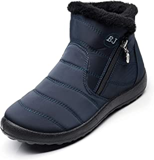 Waterproof Snow Sneakers Boots Fur Lined Ankle High-Top Outdoor Slip-on Booties Anti-Slip Winter Shoes for Womens Men