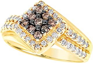 14k Yellow Gold Chocolate Brown and White Diamond Bypass Ring For Women (3/4 Carat)