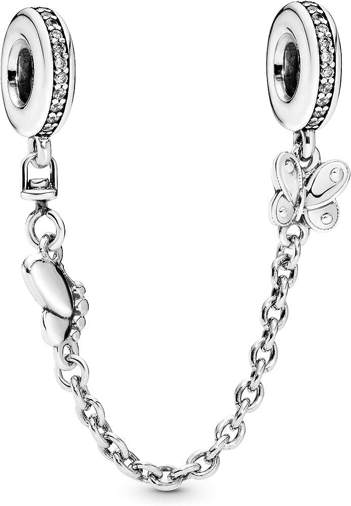 Pandora collana di sicurezza con farfalle in argento sterling. 797865CZ-05