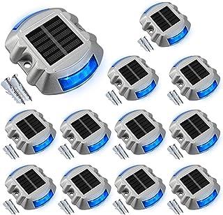 Solar Deck Lights Driveway Dock Lights, VOLISUN 12-Pack Led Wireless IP67 Waterproof Outdoor Warning Step Lights (Blue) fo...