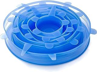 フォーエバーエコ シリコンラップ シリコン蓋 シリコンカバー 食品ラップ 繰り返し使えるシリコンラップ 6サイズセット ブルー