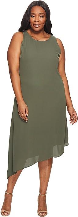 Plus Size Sheer Asymmetric Hem Dress