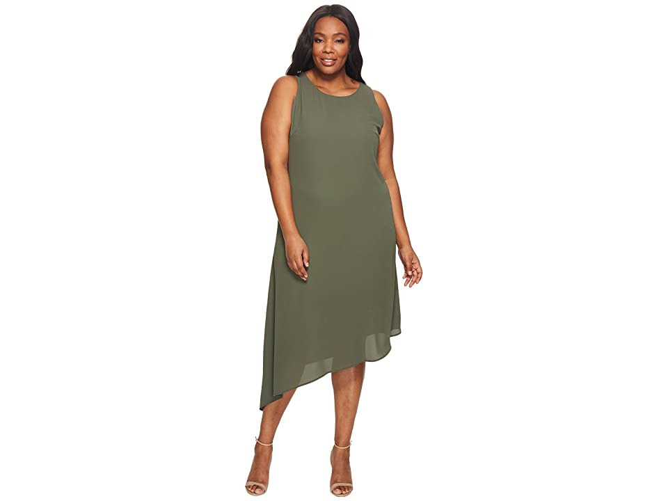 Karen Kane Plus Plus Size Sheer Asymmetric Hem Dress (Olive) Women