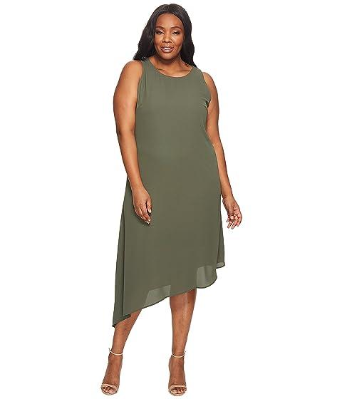 Size Sheer Karen Plus Plus Asymmetric Kane Hem Dress w4B78qt