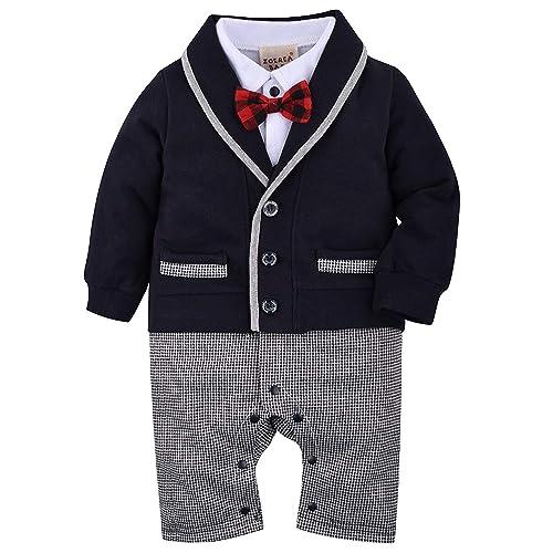 cf41830a9aba7 ZOEREA 1pcs bébé Garçon Gentleman Romper Costumes Costume de Smoking Noeud  Papillon Le baptême de Mariage