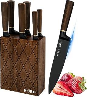 Ensemble Couteaux Cuisine, HOBO 7 Pièces avec Bloc en Bois, Couteau de Chef, Blocs de Couteaux, Couteau à Pain, Couteau Sa...