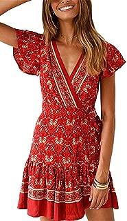 Women's Dresses Summer Bohemian Vintage Floral Printed Ruffle Hem Short Sleeve V-Neck Mini Dress S-XL