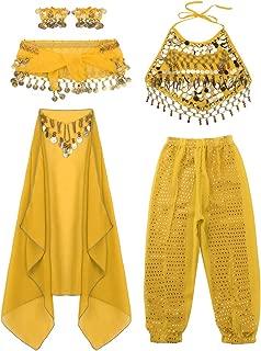 iiniim Conjunto de Traje Danza del Vientre para Niña Top + Cinturón + Pantalones + Pulseras + Mantilla con Lentejuelas Ropa de Baile India Disfraz Carnaval Belly Dance