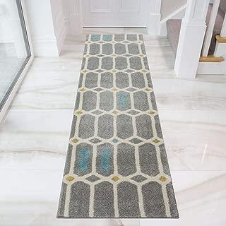 Grey Geometric Matrix Diamond Mustard Duck Egg Living Room Area Runner Rug