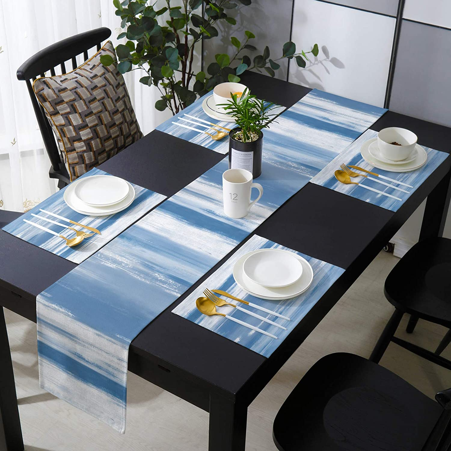 Libaoge Farmhouse Placemats with Burlap L Runner inches Table Spasm price Bargain sale 72