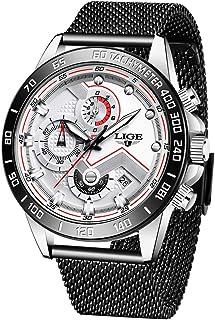 LIGE Men Watches Stylish Elegant Waterproof Blue Analog Quartz Stainless Steel Wrist Watches for Men Military Chronograph ...