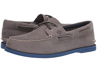 Sperry Authentic Originals 2-Eye vineyard vines Plush (Grey/Blue) Men