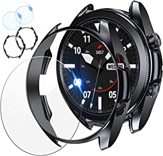 [2+2 Pack] Tensea Compatible for Samsung Galaxy Watch 3 45mm Screen Protector and Case, 2 Packs Tempered Glass Protective ...