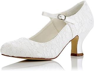JIA JIA 11016 Women's Bridal Shoes Closed Toe Mid Heel Lace Satin Pumps Wedding Shoes