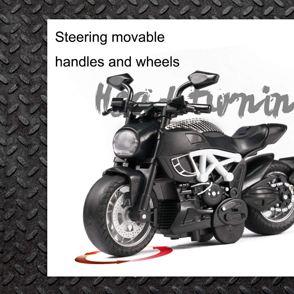 White Friction Powered Die Cast Racing Motorcycles with Music Lighting Gilumza Pull Back Vehicles Classic Motorcycle Toys Pullback Toy Gift for Christmas Brithday