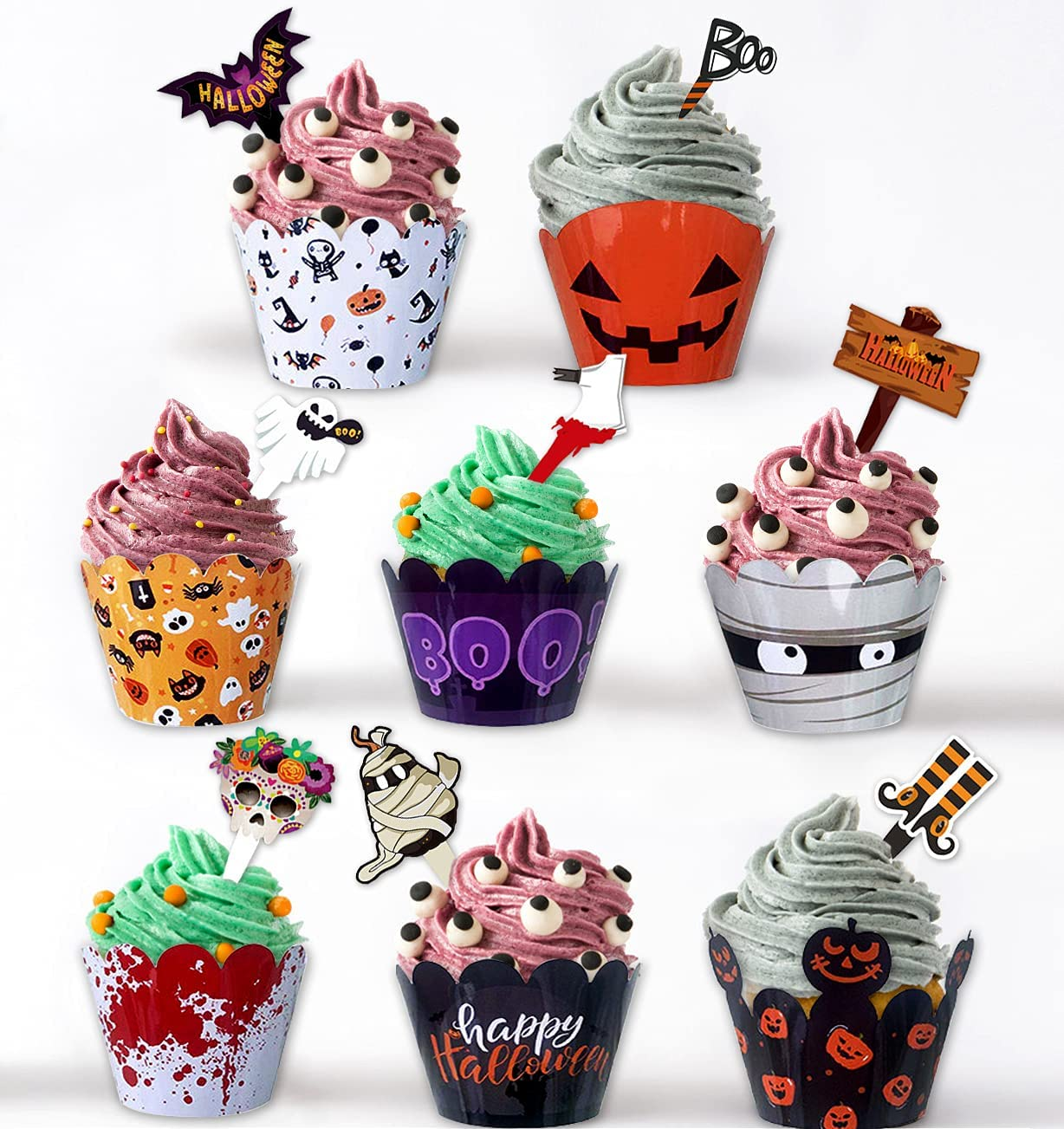 Halloween Cupcake Toppers Import Wrappers 48 Deco Translated Pcs