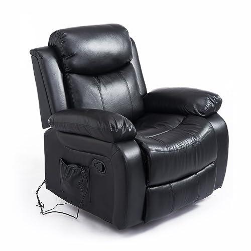 Homcom Fauteuil de Massage et Relaxation électrique Chauffant inclinable pivotant Repose-Pied télécommande Noir
