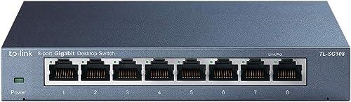 TP-Link 8-Port Gigabit Ethernet Network Switch, Sturdy Metal w/Shielded Ports, Unmanaged (TL-SG108)