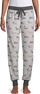 Secret Treasures Dachshund Dogs Winter White Fleece Jogger Lounge Sleep Pants