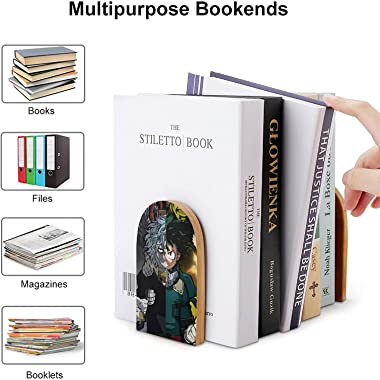 GTMRT My-Hero-Academia Bookend Supports Metal Book Ends Universal Economy Bookends Non-Skid Heavy Duty Book Ends Pack for She