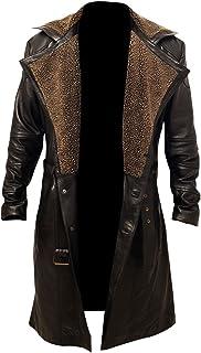 Men`s Blade Runner 2049 Ryan Gosling Fur Lapel Collar Trench Leather Coat