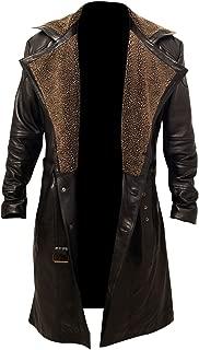 Men's Blade Runner 2049 Ryan Gosling Fur Lapel Collar Trench Leather Coat