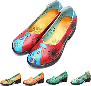 gracosy Damen Pumps, Mary Jane Schuhe Leder Slipper Party Schuhe Klassische Pumps Halbschuhe Vintage Flats Blockabsatz High Heels Sommer Mesh Schuhe