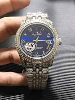 HNOLVH - Nuevos Hombres Daydate Silver Iced Diamonds Bezel Blue Dial Reloj Mecánico Automático De Acero Inoxidable con Zafiro