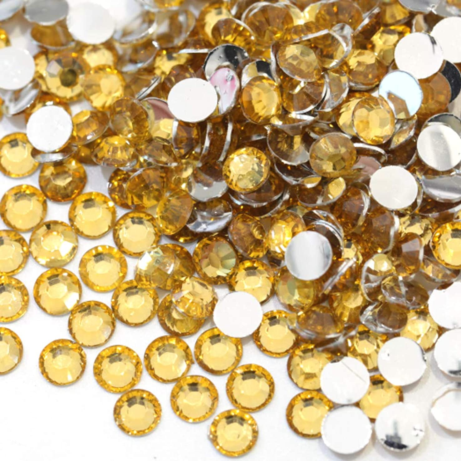 Zbella 3,000 Piece Resin 14-Facet Flat Back Round Rhinestones, Many Sizes and Colors for Crafts, Clothing, Nail Art, Decorations, Shoes, and Clothes (5mm, Topaz)