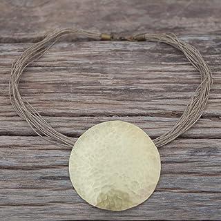 Collar geométrico mujer, collar boho mujer, collar dorado con cordón de lino natural.