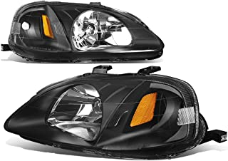 For Honda Civic EJ EK EM Pair of Black Housing Amber Corner Headlight Lamp Kit Replacement