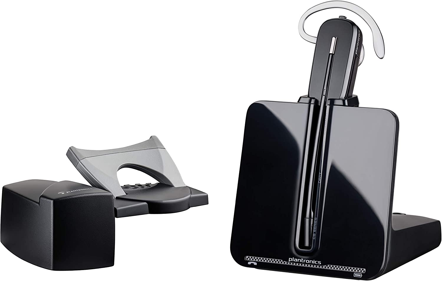 Plantronics - CS540 Wireless DECT Headset with Lifter (Poly) - Single Ear (Mono) Convertible (3 wearing styles) - Connects to Desk Phone - Noise Canceling Microphone