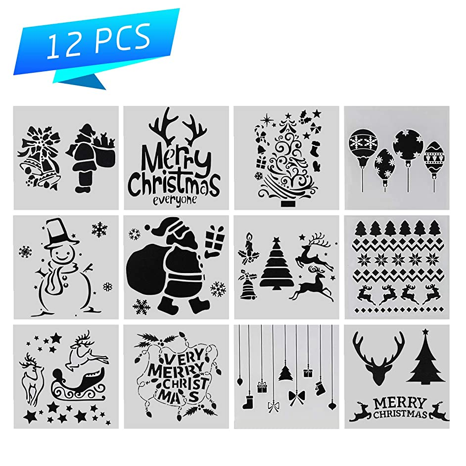 Christmas Stencil Set of 12 Painting Stencil, Laser Cut Painting Template for DIY Decor, Painting on Wood, Airbrush, Rocks and Walls Art