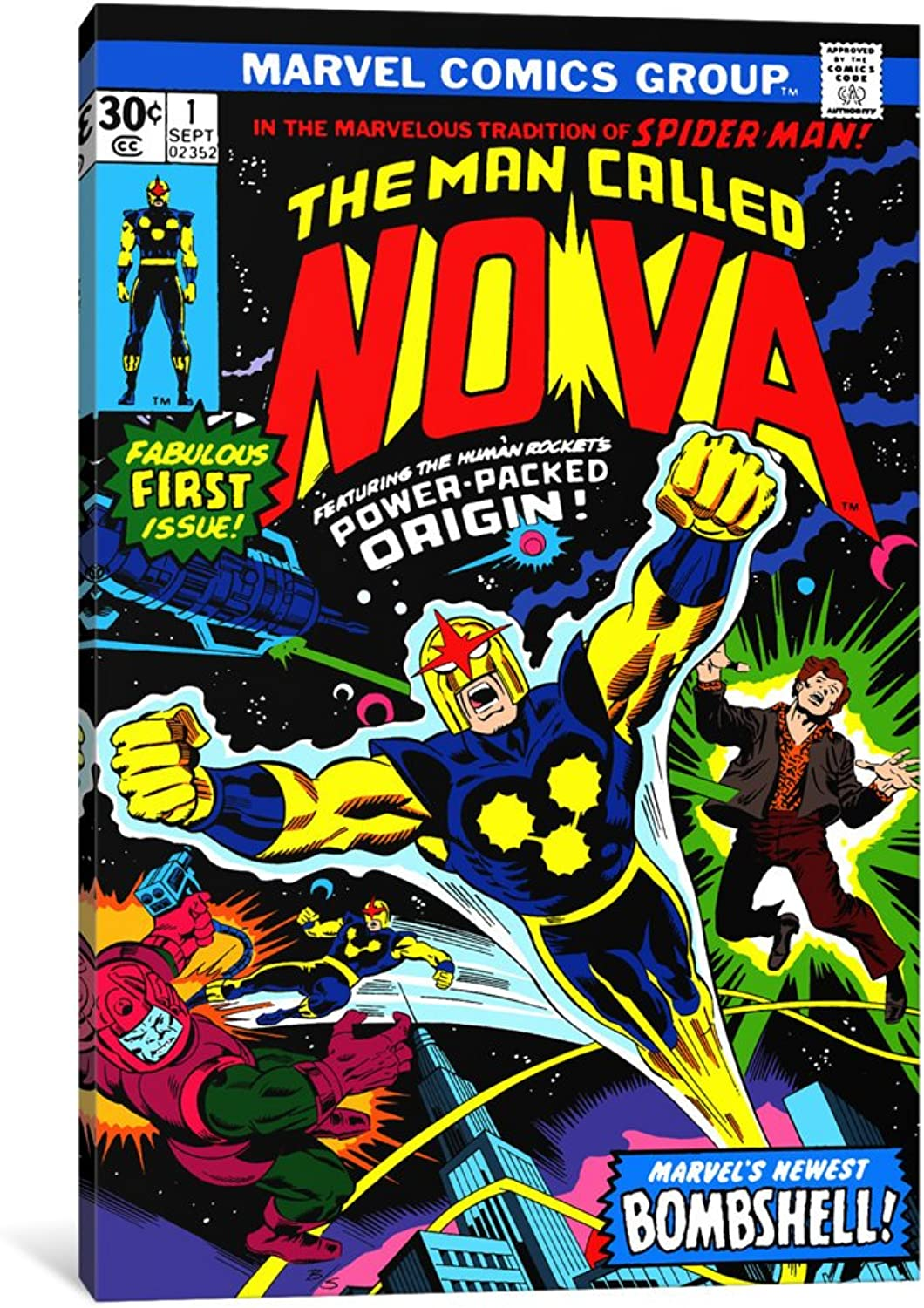 ICanvasART 1-Piece Marvel Comic Book Nova Issue Issue Cover 1 Canvas Print by Marvel Comics, 18  x 12  1.5  Deep