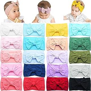 20PCS Baby Girls Headbands Soft Nylon Newborns Headbands 4.5inch Hair Bows Elastic Hairbands Hair Accessories for Newborns...